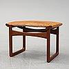 Ejnar larsen & aksel bender, a teak and leather stool for ludvid pontoppidan denmark, 1950's.