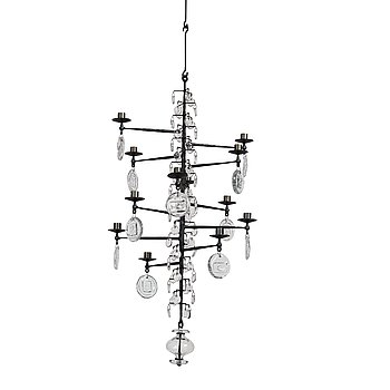 9. Erik Höglund, a wrought iron and glass chandelier, Boda Smide, Sweden.