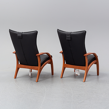 A pair of 'delta adventure' leather eay chairs, brunstad as, norway.