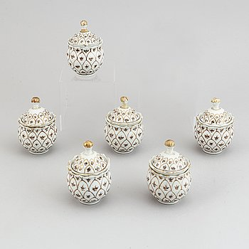 Six famille rose gilded custard cups with covers, Qing dynasty, Qianlong (1736-95).