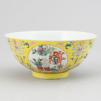 A famille rose  yellow ground bowl, China, 20th Century.