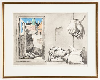 Axel Olson, etching, coloured, signed EA.