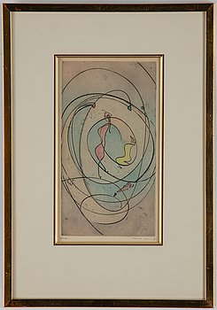 Max Ernst, etching & aquatint in colour, colured, 1970, signed EA.