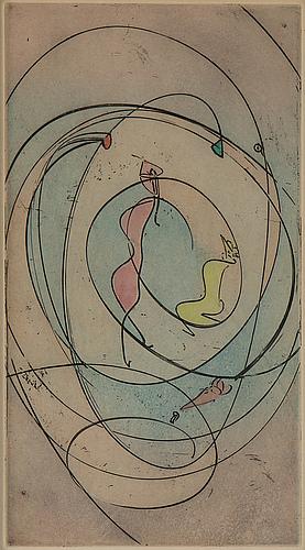 Max ernst, färgetsning & akvatint, kolorerad, 1970, signerad ea.