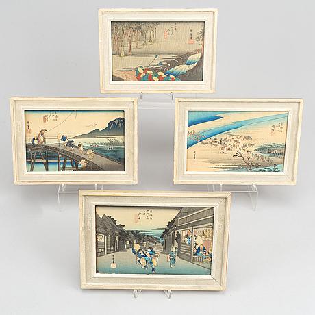 Utagawa hiroshige, efter, färgträsnitt, 20 st, japan, ur serien  serien fifty-three stations of the tokaido, 1900-tal.