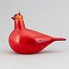 Oiva toikka,  a glass bird, red cardinal (kardinaali), signed o. toikka nuutajärvi.