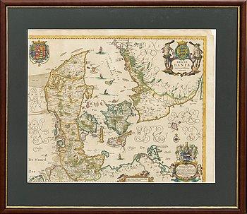 Johannes Janssonuis, map, Regni Daniae, hand colored copper engraving 17th century.