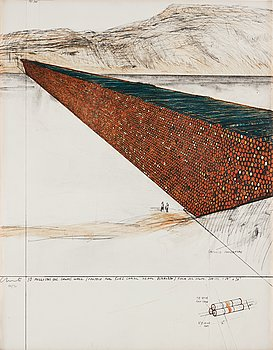 """424. Christo & Jeanne-Claude, """"Ten million oil drums wall, project for the Suez Canal""""."""