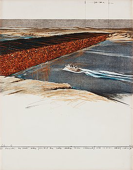 """425. Christo & Jeanne-Claude, """"Ten million oil drums wall, project for the Suez Canal""""."""