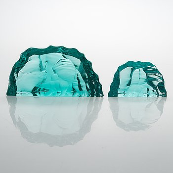 Vicke Lindstrand, Two 'Iceberg' glass sculptures, signed, Kosta.