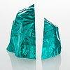 Vicke lindstrand, two 'iceberg' glass sculptures, signed, kosta.