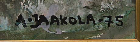 Alpo jaakola, oil on panel, signed and dated -75.