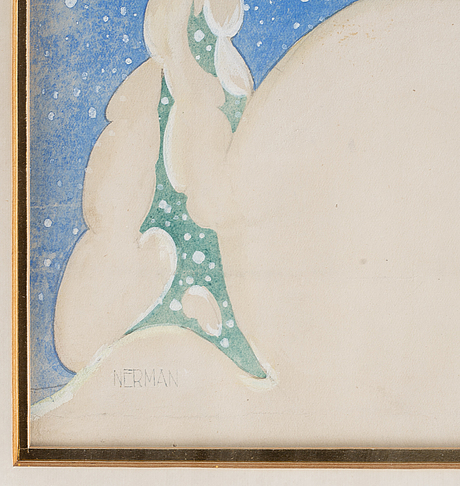 A signed watercolor by einar nerman.