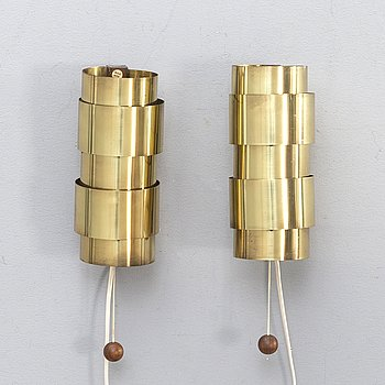 Wall lamps, a pair, brass, wood, probably Hans-Agne Jakobsson.