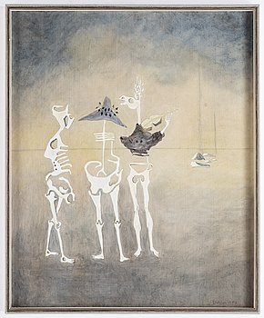 Thea Ekström, mixed media on panel, signed and dated 1957.