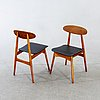 Chairs, 4 pcs, denmark, 1950s-60s.