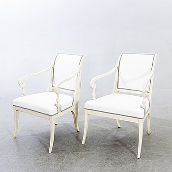 A pair of Swedish mid 1800s armchairs.
