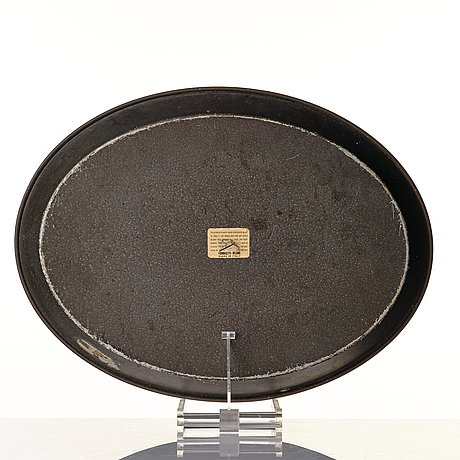 Piero fornasetti, an oval printed and lacquered sheet metal tray, milan, italy probably 1960's.