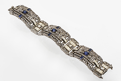 Bracelet silver synthetic sapphires and paste (not diamond), art deco/ art deco style.