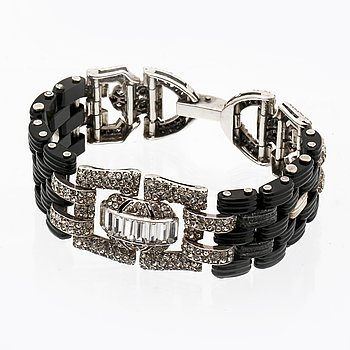 Bracelet silver paste( not diamond) and black material, art deco style.