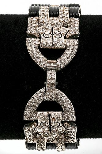 Bracelet silver paste( not diamond) and black material, art deco style.