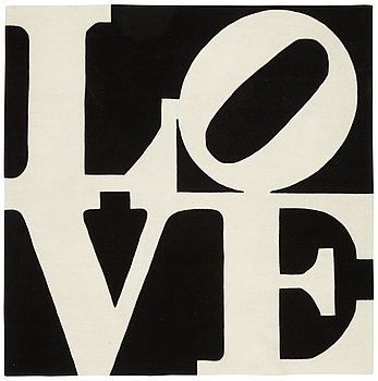 "58. Robert Indiana, a carpet, ""White on Black"", Chosen Love, hand tufted in 1995, ca 246,5 x 245,5 cm, Robert Indiana."