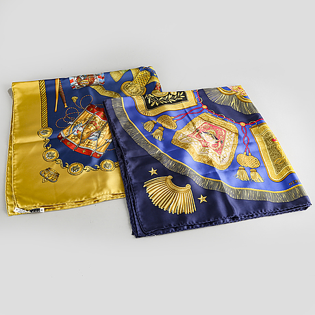 Hermès, a set of two silk scarves later part of the 20th century.