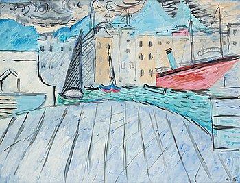 631. Sigrid Hjertén, Harbour scene.