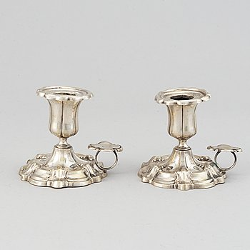 A pair of Swedish 19th century silver chamber-candelsticks, mark of Christian Hammer, Stockholm 1870.