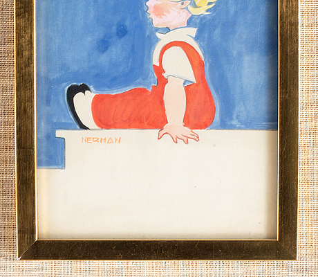 Einar nerman, watercolor, signed.