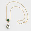 Cultured tahiti pearl, emerald and brilliant-cut.