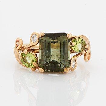Green tourmaline, peridot and brilliant-cut diamonds.