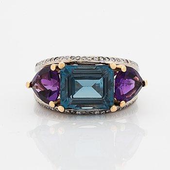 Topaz, amethyst and brilliant-cut diamond ring.