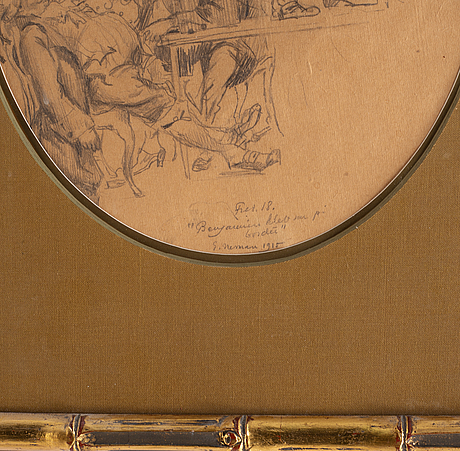 Einar nerman, drawing, signed and dated 1915.