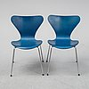 """A set of six """"serie 7"""" chairs by arne jacobsen for fritz hansen, dated 1982."""