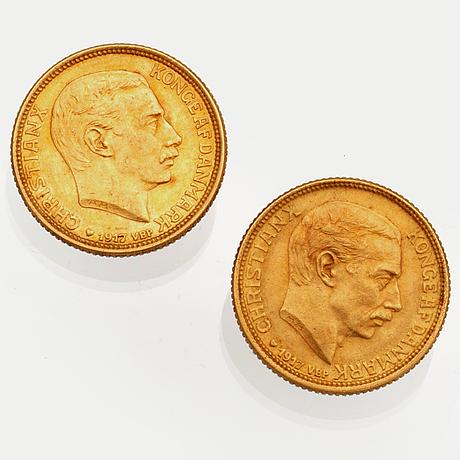 Two gold coins, 10 kr, christian x danmark 1917.