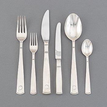 """Jacob Ängman, a set of 58 pcs of """"Rosenholm"""" flatware, Guldsmedsaktiebolaget, Stockholm, sterling and stainless steel."""