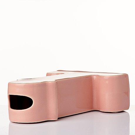 "Ettore sottsass, a ""shiva"" pink glazed ceramic vase, b.d barcelona, spain post 1973."