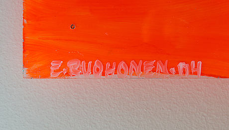 Elina ruohonen, acrylic on plexi glas, signed and dated -04.