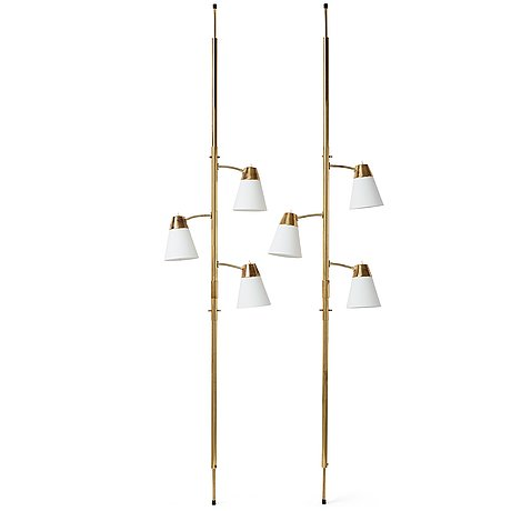 "Herbert ode, a pair floor lamps ""triolett"", ho armatur, sjömarken, sweden ca 1965."
