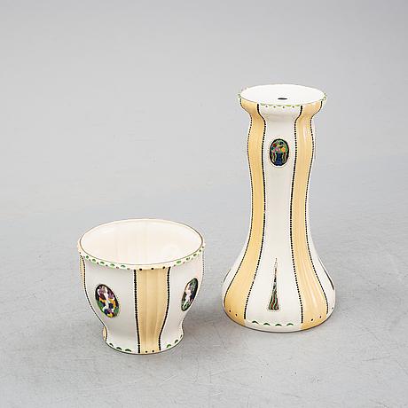 Julius dressler, a ceramic plant pot and pedestal, austria, early 20th century.