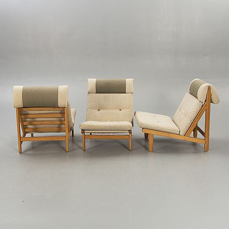 A set of five pine 1970:s easy chairs by bernt pedersen 'kludestol', denmark.