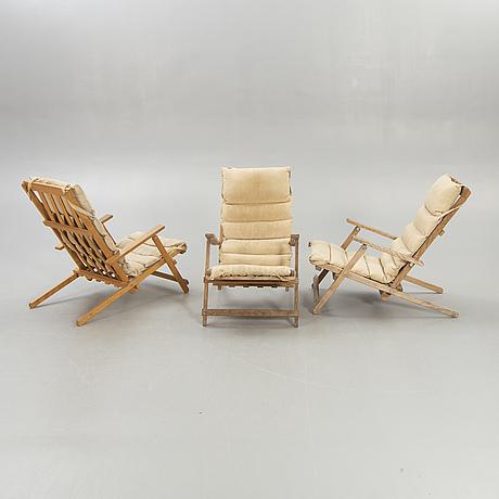 Three second half of 20th century deck chairs by børge mogensen for a/s søborg, denmark.
