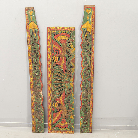 A goup of painted wood carvings, south east asia, 20th century. (6 pieces).