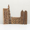 A group of six carved wooden panels, south east asia,  19th /20th century.