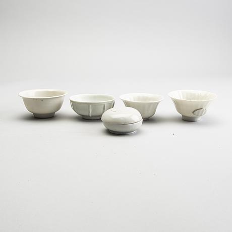 A group of white glazed ceramics, 17th century.