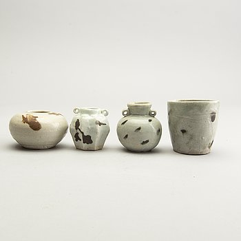 A group of four spotted yuan style vessels, presumably revival.