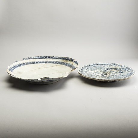 Two large blue and white persian chargers, 18th/19th century. study pieces, fragments.
