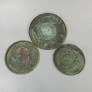 A set of three South East Asian copper alloy trays, 19th Century or older. Java.