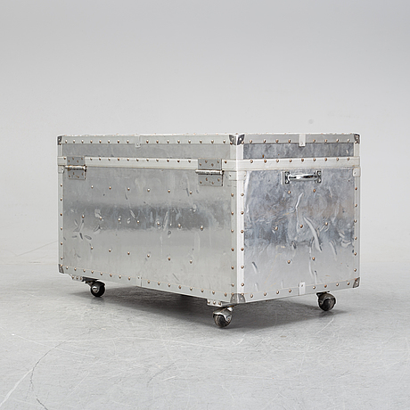 A large metal storage case on wheels, 20th century.  measurements.